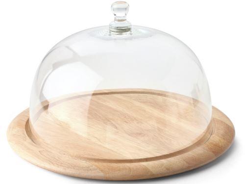 CONTINENTA Prkénko na sýr 32,5 cm se skleněným poklopem 26 cm
