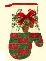 DURATEX Kuchyňská chňapka FS23, 28 cm, bavlna, magnet, poutko, vánoční šišky