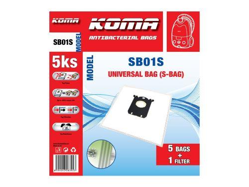 KOMA SB01 Sáčky Universal Bag do vysavače Electrolux, AEG, textilní, S-bag 5ks + mikrofilt