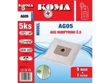 KOMA AG05S Sáčky do vysavače AEG Vampyr č.5 textilní, 5ks + mikrofiltr