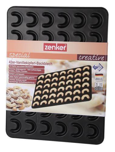 ZENKER Forma, plech na vanilkové rohlíčky malé 42 ks, 42 x 32 cm