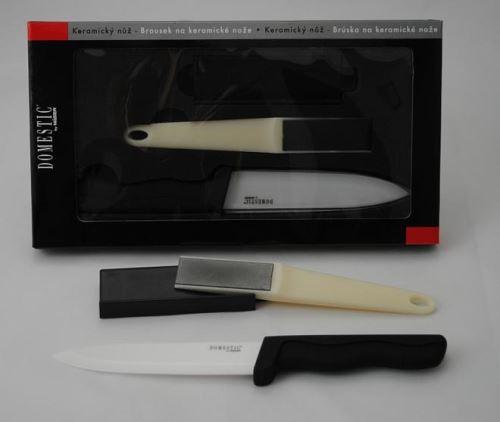 DOMESTIC Keramický nůž 12,5 cm + ostřič nožů