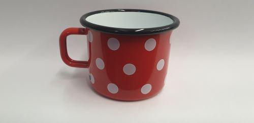 Hrnek 9 cm 0,5 l, červený / bílý puntík_0