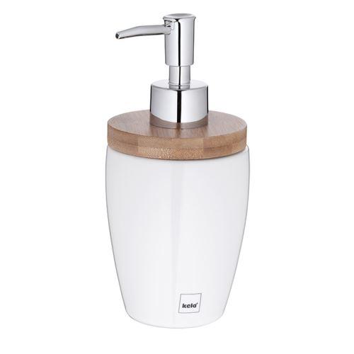 KELA Dávkovač mýdla NATURA, 350 ml, keramika/bambus_0