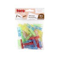 TORO Kolíčky na prádlo MINI, 50 ks, 3,5 cm, barvy mix