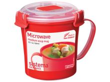 SISTEMA MICROWAVE Hrnek na polévku 656 ml, červený