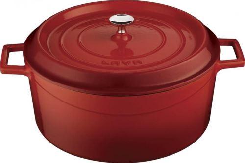 LAVA Hrnec 6 l, litina o 28 cm, červený, s poklicí