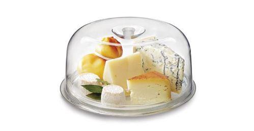 BORMIOLI ROCCO Plastový poklop 27 cm na sýr se skleněným podnosem 28 cm